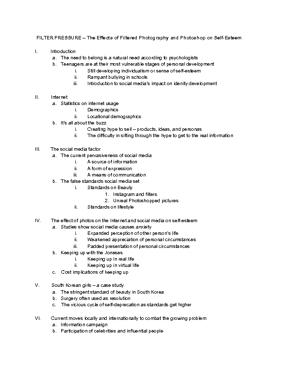 Example Outlines For Research Papers
