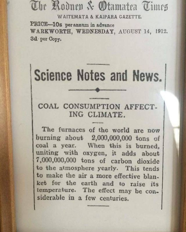 August 14th 1912 article on global warming