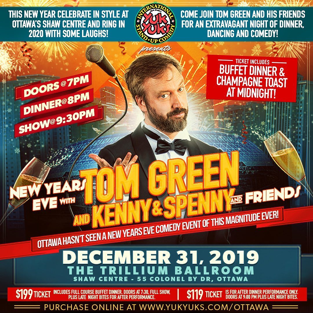 Hey friends!  We still have some tickets left for tonights hilarious and fun New Years Eve show and party!! At The Shaw Centre!  7:00 pm Come for dinner!  9:00 pm Come for the show! Tickets available here www.yukyuks.com/ottawa Tonight is gonna be nuts!  Come ring in the new year with me and @kennyhotz @spencerspennyrice and other local comedians, celebrities, and more!